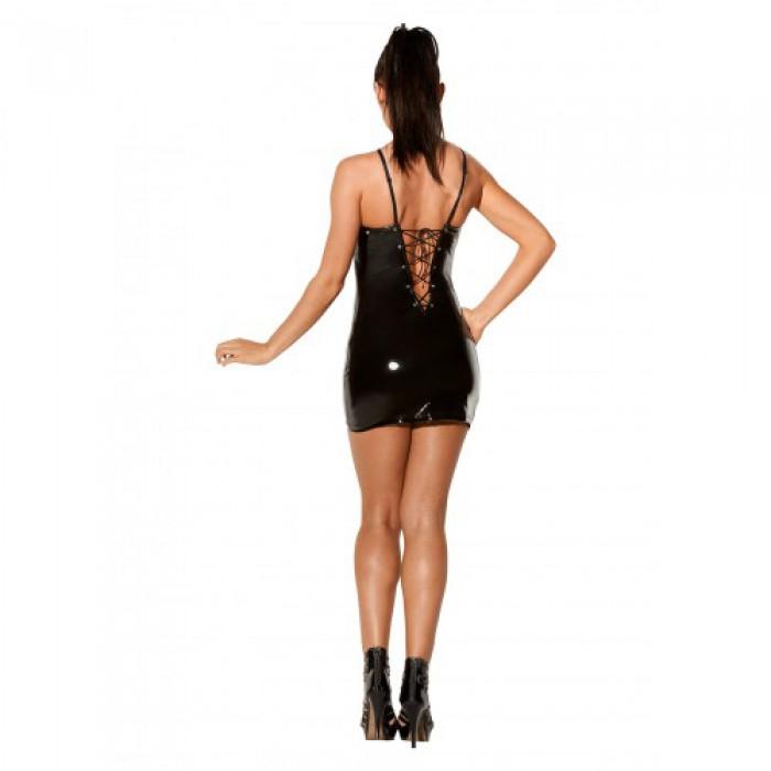 <b>Купить</b> Черное лакированное платье со шнуровкой Avanza, L ...