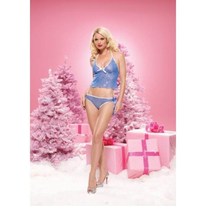 2PC.Snowflake print halter top with matching bikini bottoms MED/LGE BLUE
