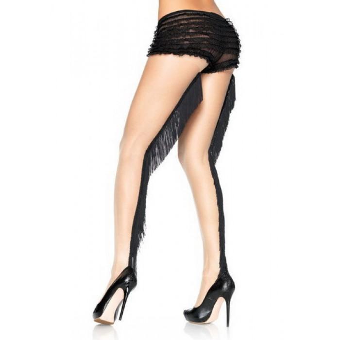 Lycra sheer pantyhose with finge backseam SML/MED NUDE/BLACK