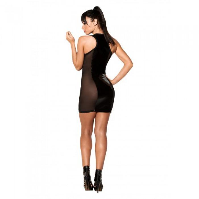 Черное платье с лакироваными вставками Avanza