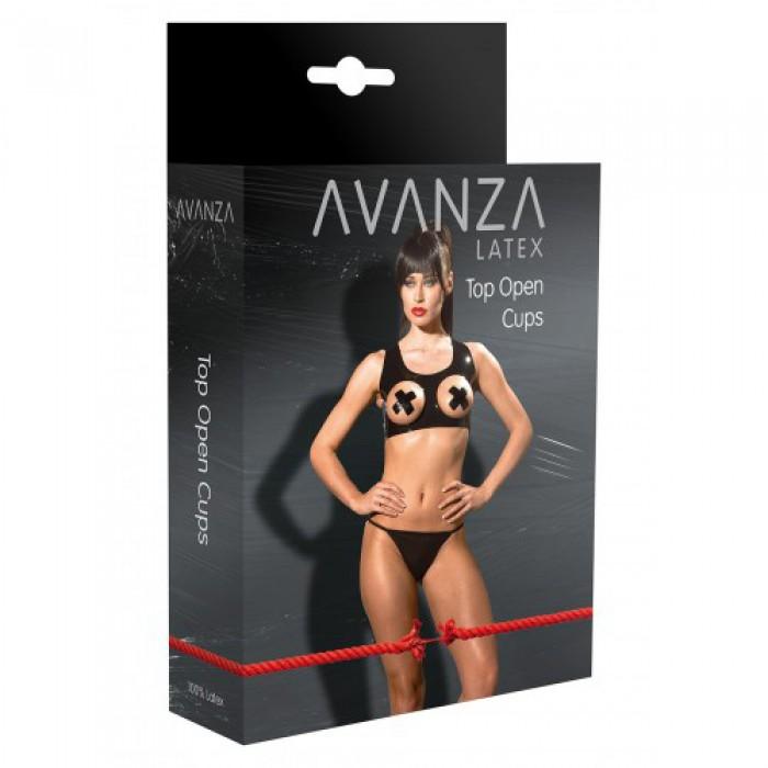 Латексный топ с открытой грудью Avanza, S