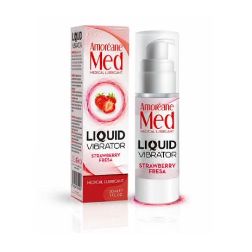 Love Med Amorene Клубника - жидкий вибратор, 30 мл