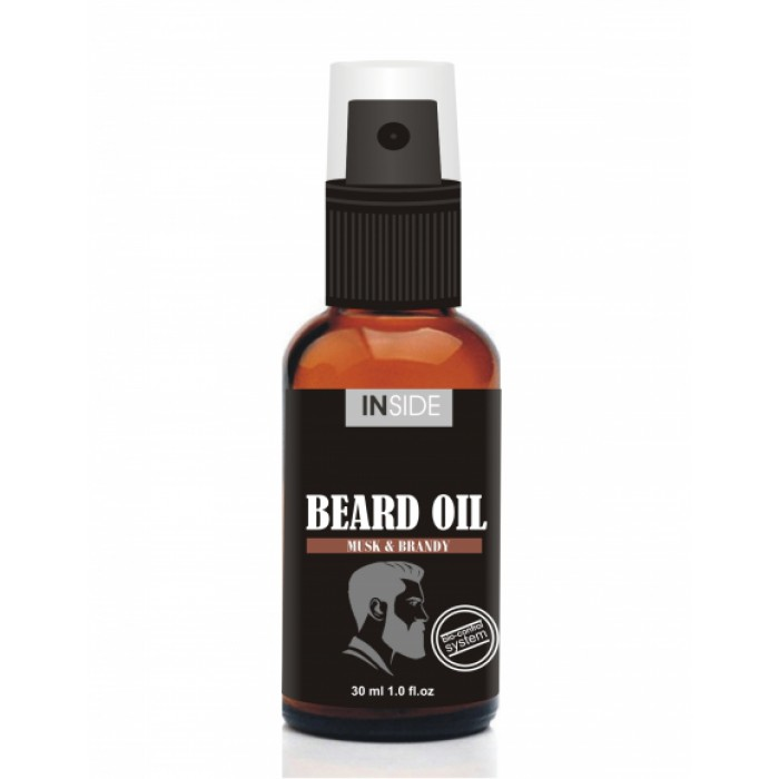 Inside Beard Oil средство для бороды с маслом макадами и запахом Мускуса и Бренди 30 мл.