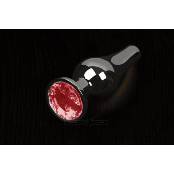 Пикантные Штучки, Маленькая графитовая анальная пробка с кристаллом - 8.5Х3 см