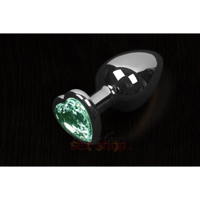 Пикантные Штучки Большая серебристая анальная пробка с кристаллом в виде сердечка 8,5Х4 см