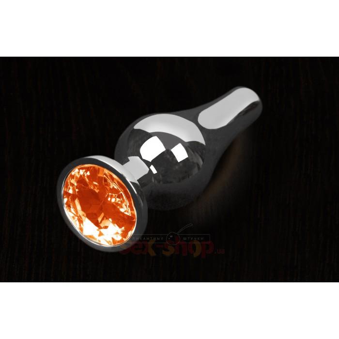 Пикантные штучки - Большая графитовая анальная пробка с кристаллом, 12Х4 см