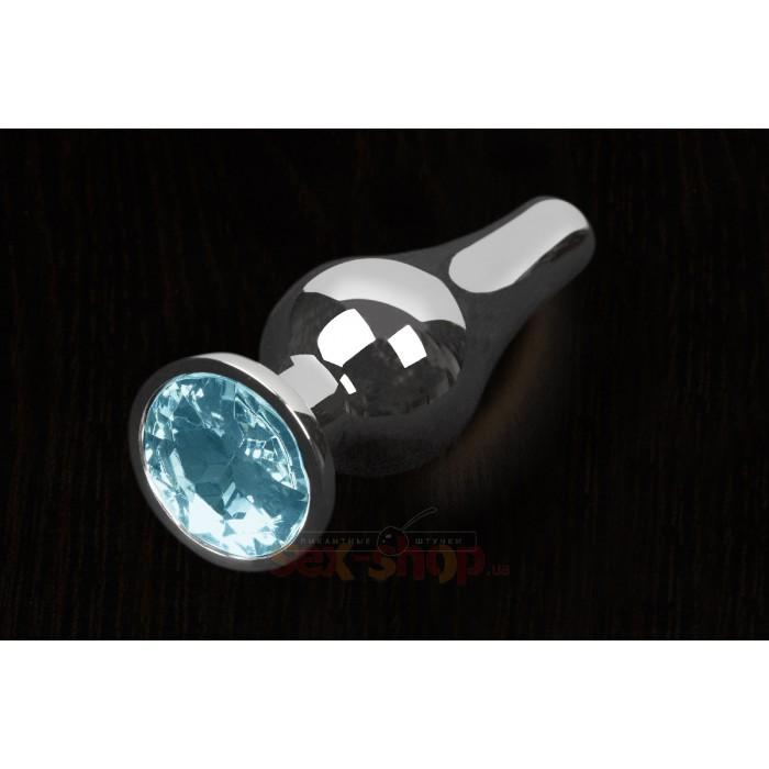 Пикантные Штучки, Серебристая анальная пробка с кристаллом - 12Х4 см.