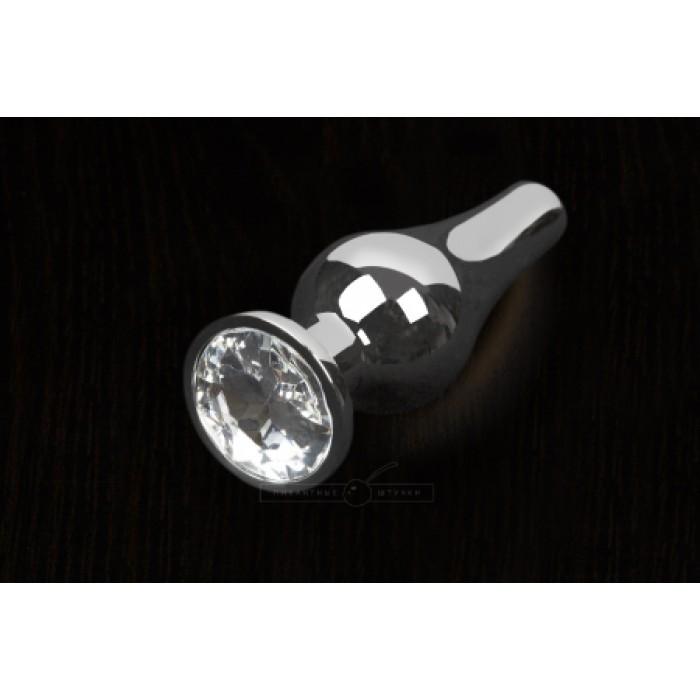 Пикантные Штучки, Серебристая анальная пробка с кристаллом - 8,5х3 см.