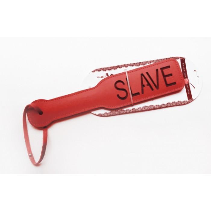 Шлепалка с рельефной надписью SLAVE, красная