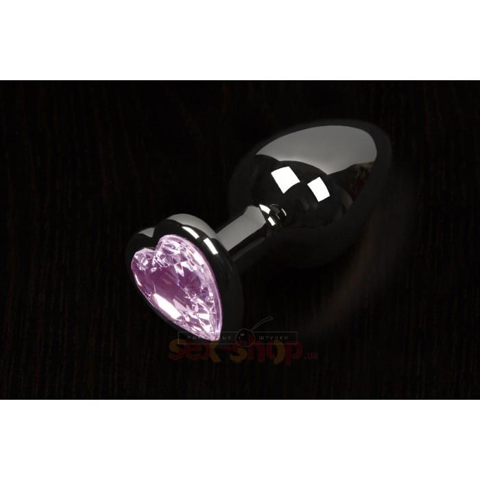 Пикантные Штучки, Большая графитовая анальная пробка с кристаллом в виде сердечка - 8,5Х4 см