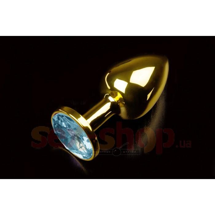 Малая золотистая анальная пробка с кристаллом