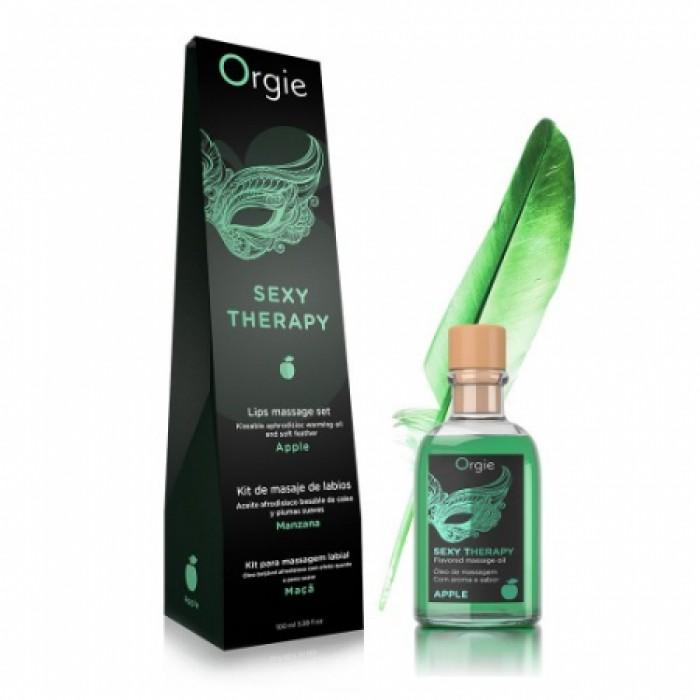 Orgie Lips Massage Kit Apple - массажное масло яблоко, 100 мл