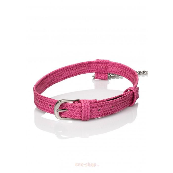 CalExotics Tickle Me Pink Collar w Leash - дизайнерский ошейник с поводком