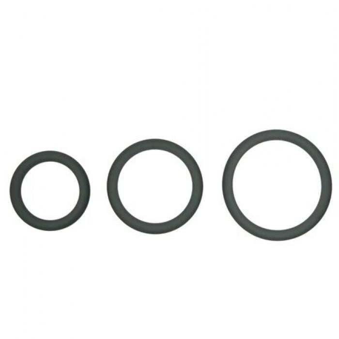 Topco Sales Hombre Snug-Fit Silicone Thin C-Rings, 3 Pk - комплект эрекционных колец, 3,1 см, 4,4 см, 5 см